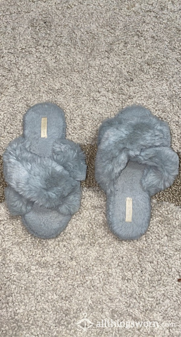 Gray Fuzzy Slippers photo