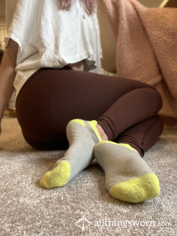 Grey & Yellow Dirty Ankle Socks photo