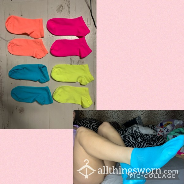 NEON LYCRA ANKLE SOCKS (various Colours!) photo